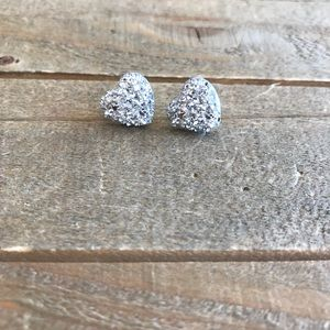 3 for $15 Silver Heart Faux Druzzy Earrings